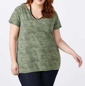 2/$20 Penningtons green striped t shirt 3x